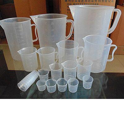 15-5000 Ml Plastic Measuring Cup Jug Beaker For Chemistry Lab Test Kitchen