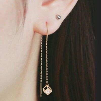TPD 14K Solid Yellow Gold Cube Drop Long Threader Dangle a Pair of Earrings