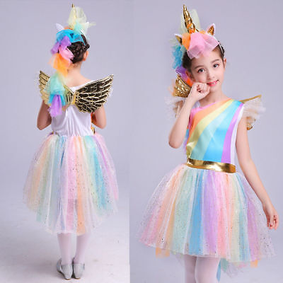 US Stock Unicorn Rainbow Costume Kids + Headband Halloween Girls Party Dress - Girls Unicorn Halloween Costume