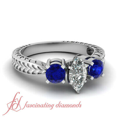 1.25 Ct Marquise Vintage Wedding Rings For Women With Sapphire And Diamonds GIA