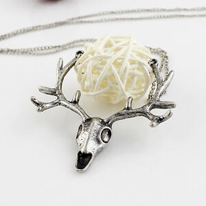 Rustic Deer Antler Pendant Necklace with Chain