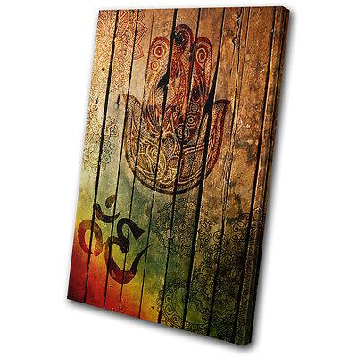 Vintage Hamsa Mandala Om Yoga Peace SINGLE Leinwand Wand Kunst Bild drucken
