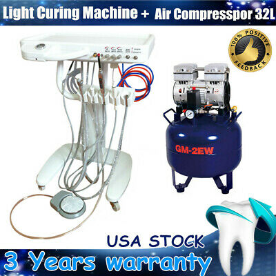 Usa Portable Dental Delivery Mobile Cart Unit Equipment Air Compressor 32l Kit
