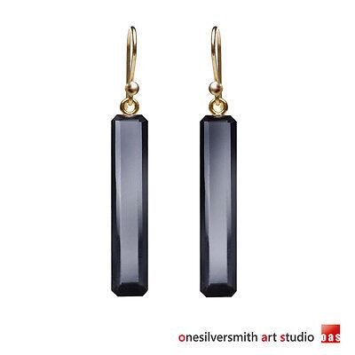 (Solid 14k 18k Yellow Gold Black Onyx Drop Earrings Hook Leverback No.908787)