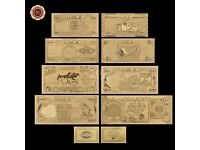 Iraq Dinar Gold Banknote Set 8 PCS 25-25000 Novelty 99.9% 24k Gold Foil Free COA