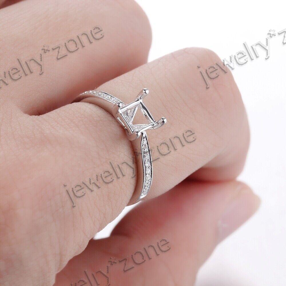 Cushion Cut 4.5x4.5mm Semi Mount Diamonds Engagement Ring 925 ...
