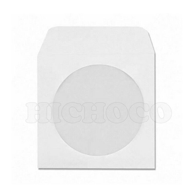 1000 White Paper CD DVD R Disc Sleeve w/ Window Flap Envelope Wholesale Bulk