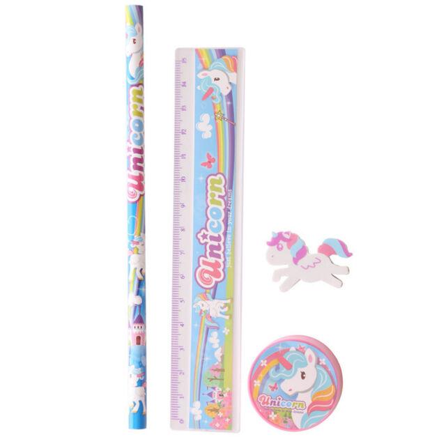 Unicorn 4 Piece Stationery Set ~ Pencil Sharpener Ruler & Unicorn Shaped Eraser