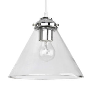 modern silver chrome clear glass round ceiling pendant light shade fitting new ebay. Black Bedroom Furniture Sets. Home Design Ideas