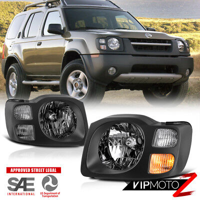 Fits 2002-2004 Nissan Xterra XE SE {FACTORY STYLE} Black Headlight Lamp Assembly (Xterra Headlamp Assembly)