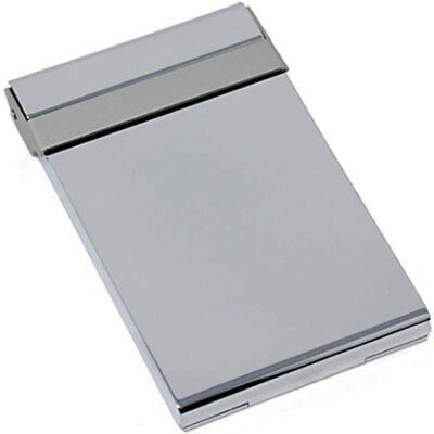 Vertical Slim Brushed Silver Metal Business Card Holder Office Products