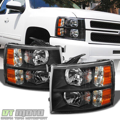 Blk 2007-2014 Chevy Silverado 1500 2500HD Replacement Headlights Lamp Left+Right