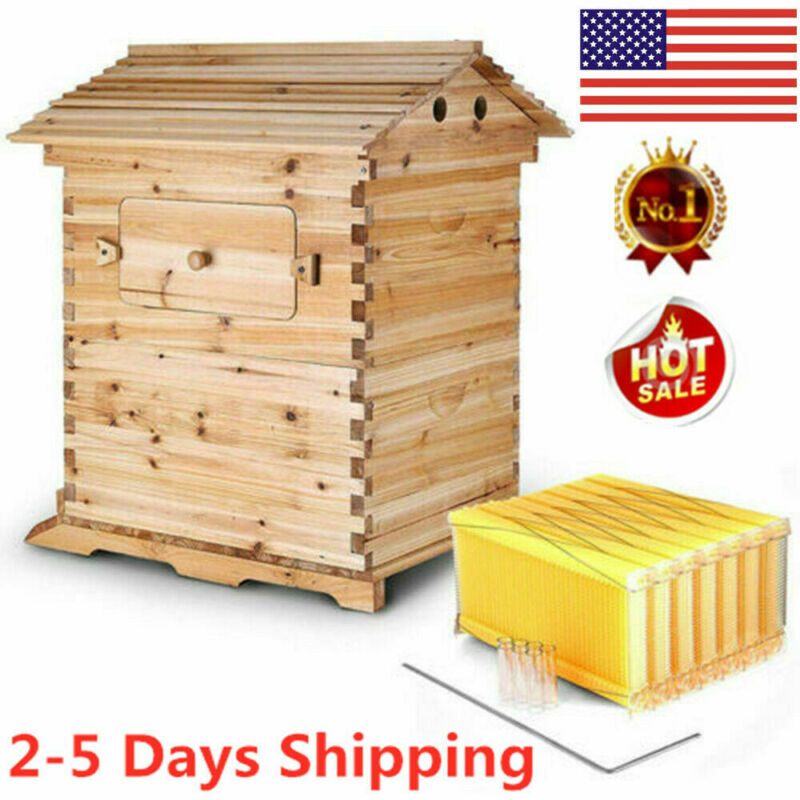 2020 7X Upgraded Flow Honey Hive Beehive Frames + Beekeeping Brood Cedarwood Box
