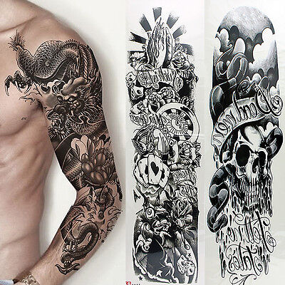 5 Sheets Full Arm Sleeve Temporary Disposable Tattoos Fake Skull Art Stickers US (Tattoo Sleeves)