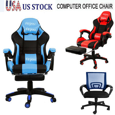 Racing Gaming Chair Ergonomic Leather Swivel Office Computer Desk Seat Furniture