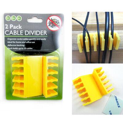 2 Paquete Cable Divisor Ranura Alambre Organizador Escritorio Grip Cargador USB