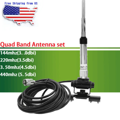 Quad Band Antenna + RB-400 Clip Mount + 5m Cable for QYT KT-7900D Car Radio