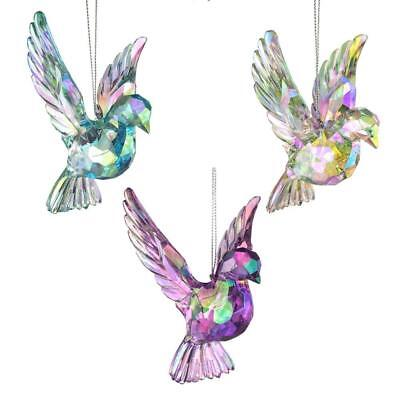 Acrylic Glass Doves Christmas Ornaments, Pink/Iridescent, 8-Inch, 3-Piece