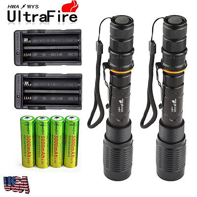 2 Sets 8000 Lumens 5Modes Ultrafire CREE XML T6 LED Flashlight 18650+Charger USA