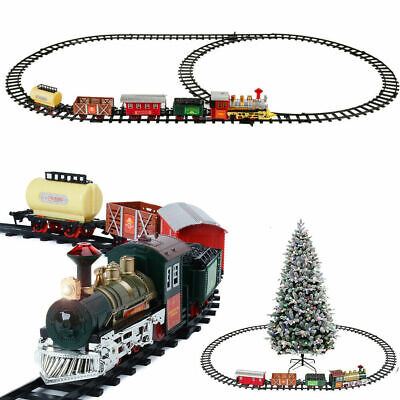 Luxury Electric Christmas Train Tracks Set Lights Sound Kids Toy Gift Tree Decor