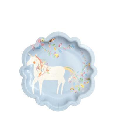 cher Prinzessin Party Papierteller 18cm Blau Einhorn Fairy (Fairy Party-teller)