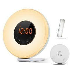 Wake Up Light Sunrise Simulation Digital Alarm Clock with 7 Color LED