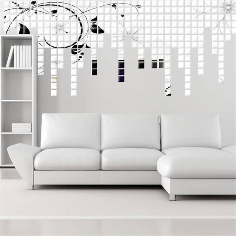 12x 3D Flower Art Mirror Wall Sticker Decal Mural DIY Home Room Acrylic Decor Z0