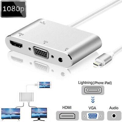 Für Apple iPhone X 8 7 6S 6/ iPad Lightning to HDMI VGA AV Video Konventer Kabel