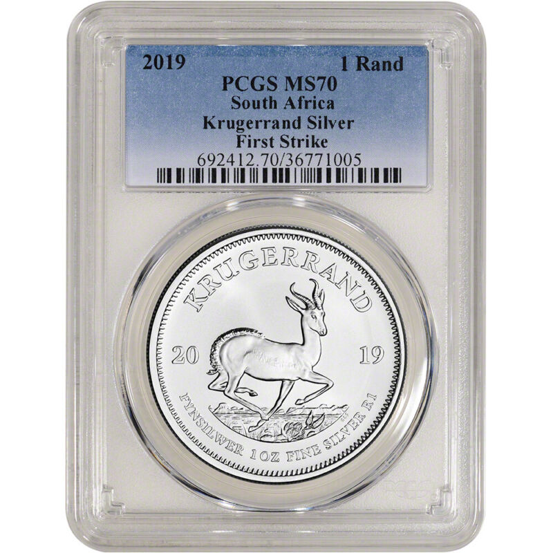 2019 South Africa Silver Krugerrand 1 oz 1 Rand - PCGS MS70 First Strike