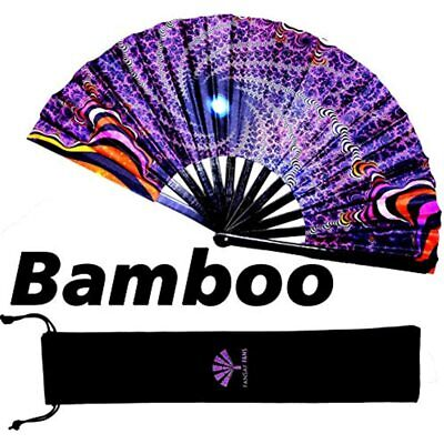 - Large Bamboo Rave Festival Hand Fan For Women/Men Big Folding W/Velvet Bag