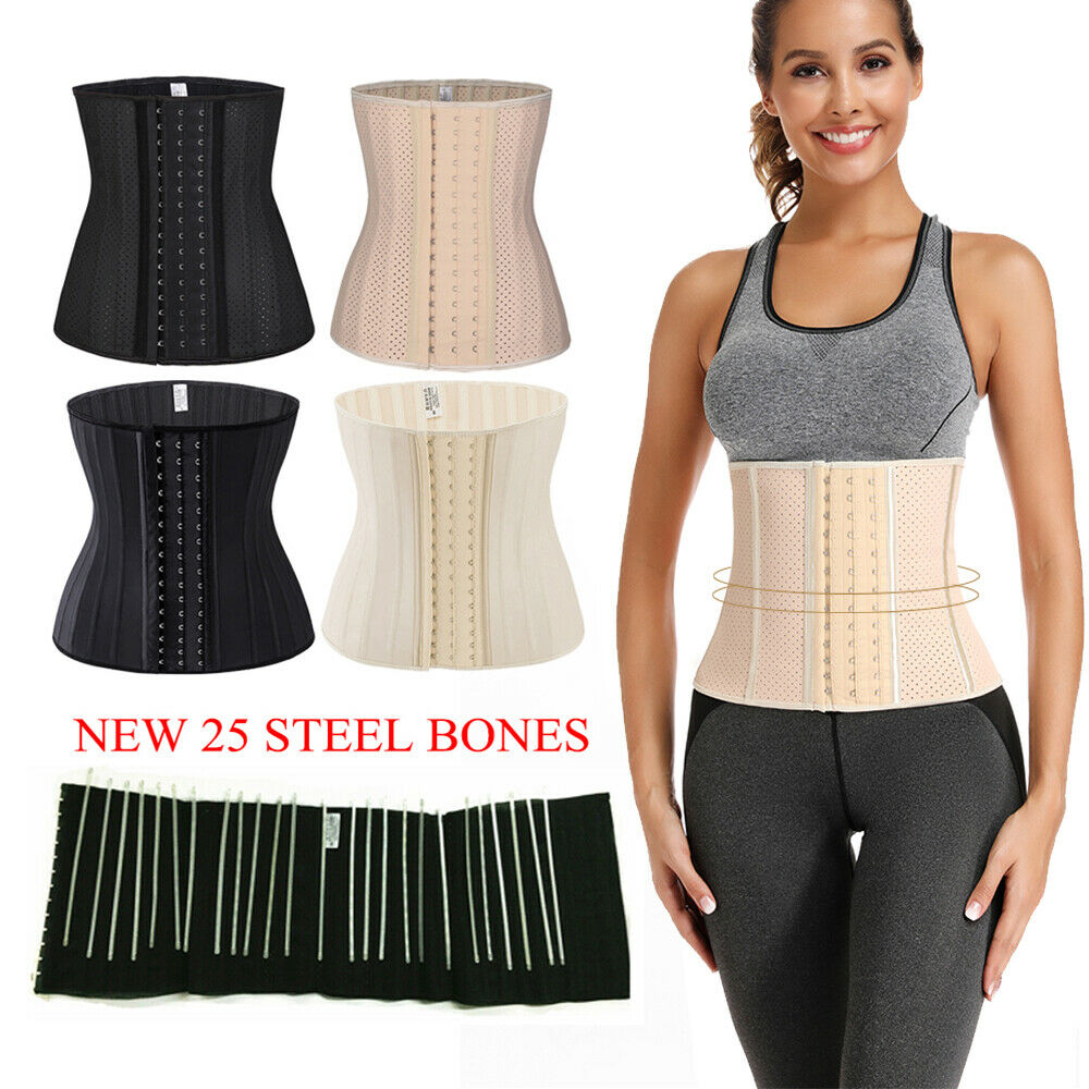 25 Steel Bones Latex Waist Trainer Cincher Corset Tummy Belt Shaper Shapewear