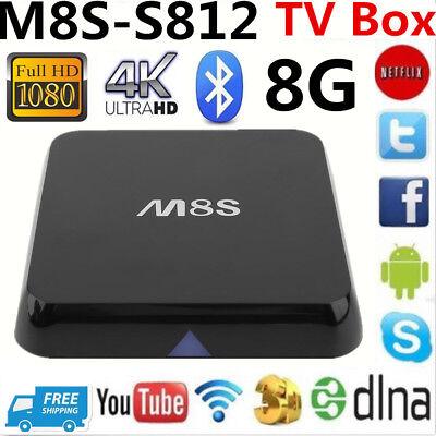 M8S Android SMART TV Box 4K IPTV XBMC WiFi S812 Quad Core 8GB ROM INTERNET BT