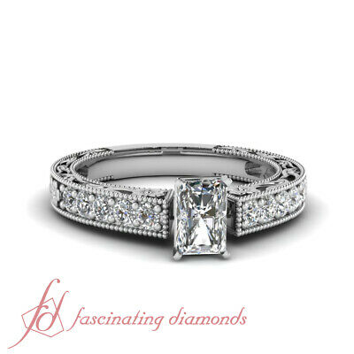Pave Set Radiant Cut Natural Diamond Rings Antique Looking For Women 0.90 Ct GIA