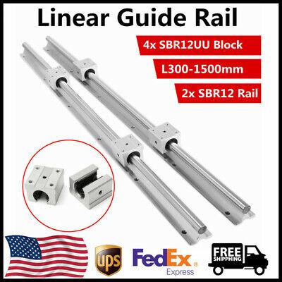 SBR12 Linear Rail L300-1500mm 2x Linear Guideway Rail + 4X Bearing Block Square