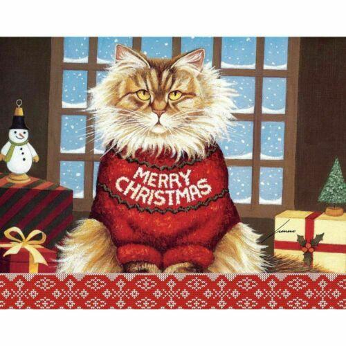 Mad Cat Christmas Cards Lowell Herrero SETOf  4 Squeaky Maine Coon Tabby Grumpy