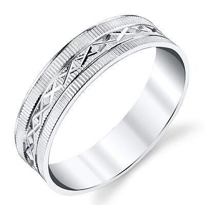 Laser Design Wedding Band - 925 Sterling Silver Mens Wedding Band Ring Laser Grooved Design Lines #SEVB019