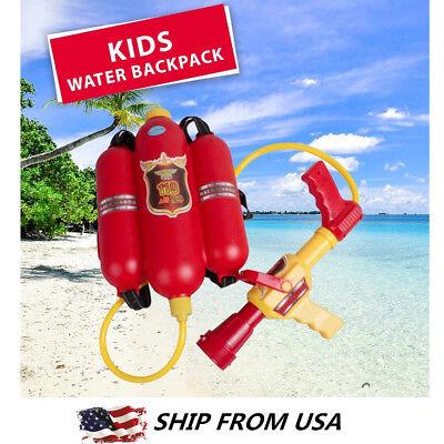 Water Gun Kids Super Soaker Blaster Fire Backpack Pressure Pool Toy Beach Game