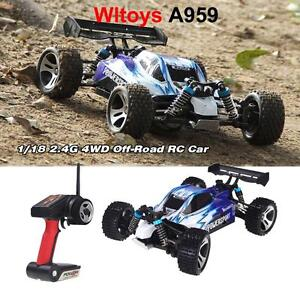 WLtoys A959 1/18 Scale 2.4G 4WD Electric RC Car Off-Road Buggy RTR NEW O2L8