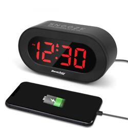 REACHER Small LED Digital Alarm Upgrade Version, With a Usb Charger Port