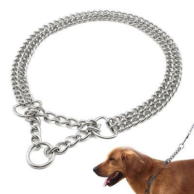 Martingale Twin Chain Choke Dog Collar Chrome Plated Dog Training Show Collar  Show Dog Collar