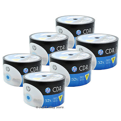 300 Pack HP Logo Brand Blank CDR CD-R 52X Recordable Disc Media 80 min 700MB