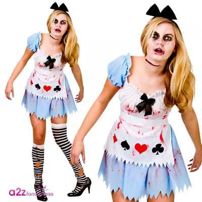 Alice In Wonderland Zombieland Adult Damen Halloween Kostüm