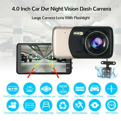"XGODY 4"" 1080P FHD Car DVR Dual Lens Dash Cam Video Recorder"