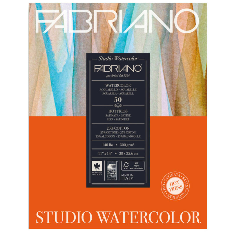 Fabriano Studio Watercolor Paper 140 lb. Hot Press 50-Sheet Pad 11x14""
