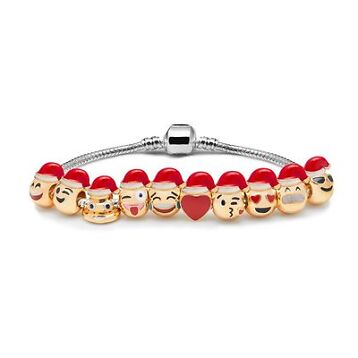 Santa Hats Emoji Charm Bracelet - 18K Yellow Gold Plated Beads - 10 Charms