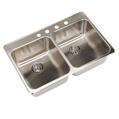 American Standard Prevoir Top Mount Double Bowl Kitchen Sink 15DB.332284.073  American Standard Double Bowl Sink