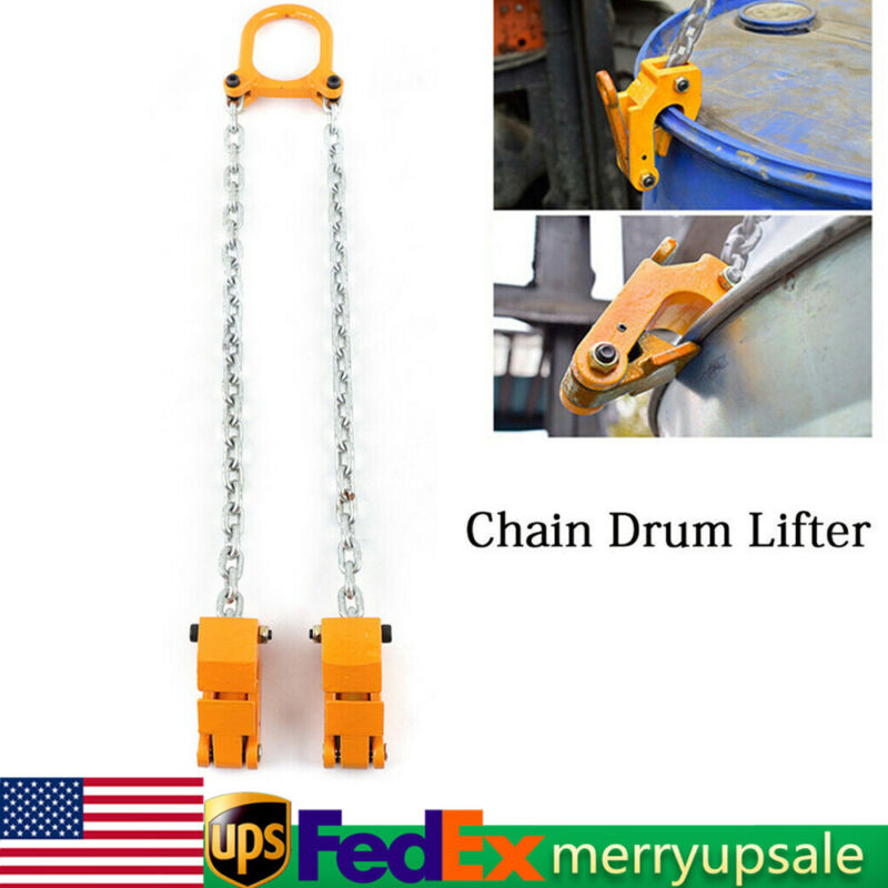 2000lbs Chain Drum Lifter Steel Drum Vertical Drum Clamp Barrel Lift Assembly Us