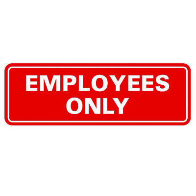 Classic Employees Only Sign -red Small 2 X 6