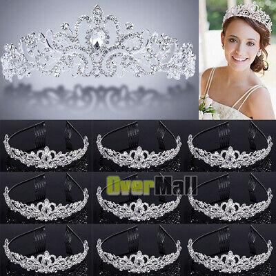 Princess Tiaras Bulk (10 x Wedding Bridal Princess Crystal Prom Hair Tiara Crown Veil Headband w/)