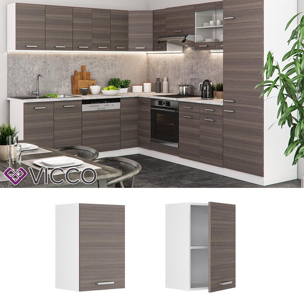 VICCO Küchenschrank Hängeschrank Unterschrank Küchenzeile R-Line Hängeschrank 40 cm edelgrau